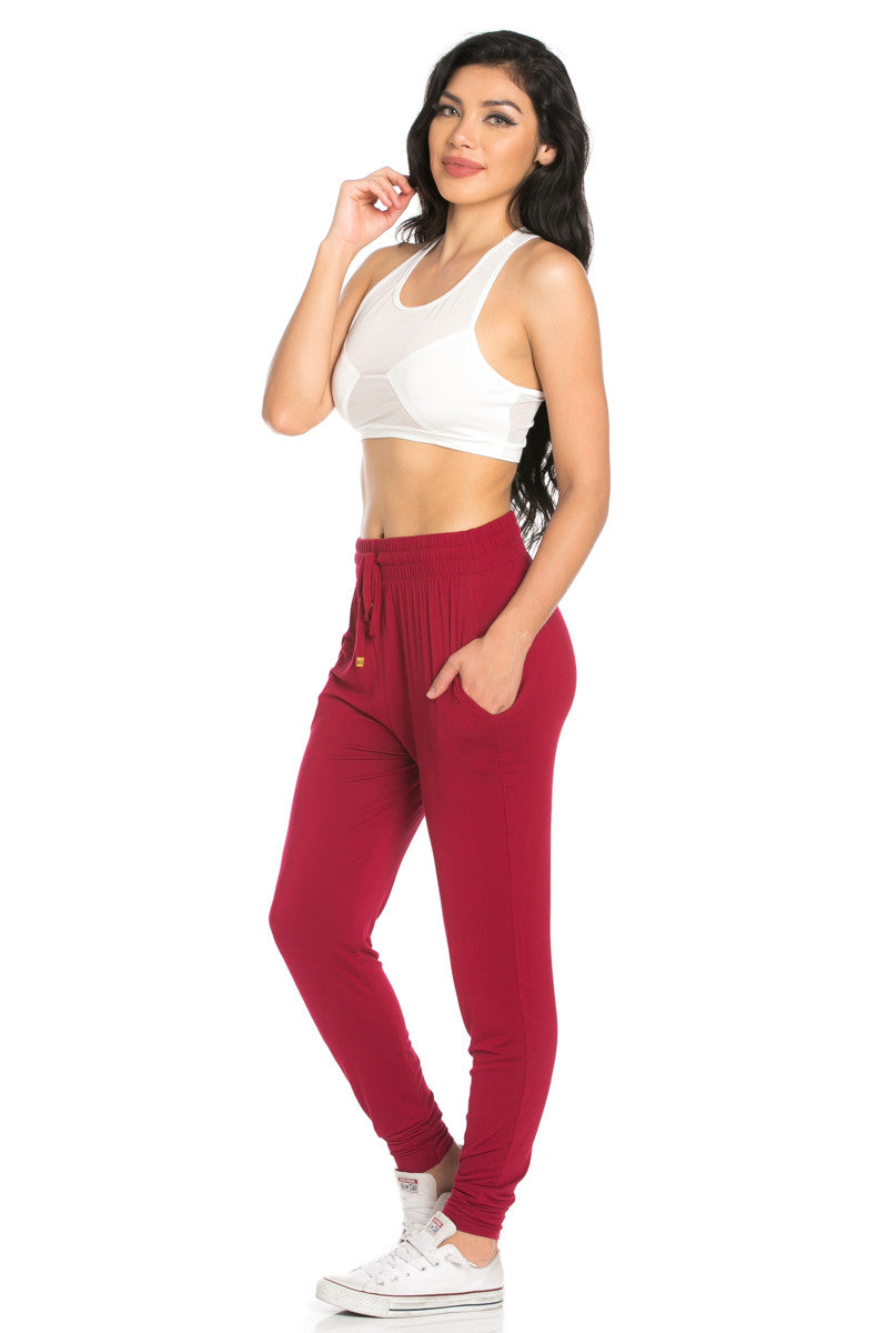 Comfy Drawstring Jogger Pants in Wine - Jogger Pants - My Yuccie - 3