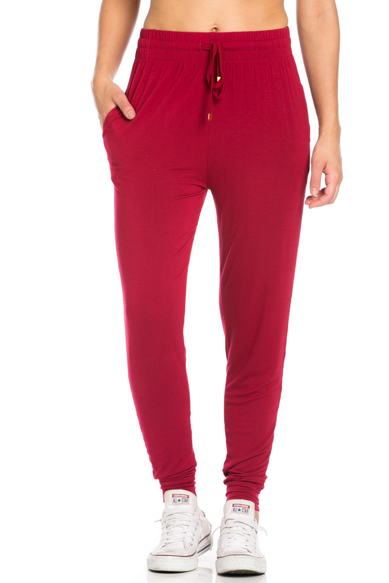 Comfy Drawstring Jogger Pants in Wine - Jogger Pants - My Yuccie - 1