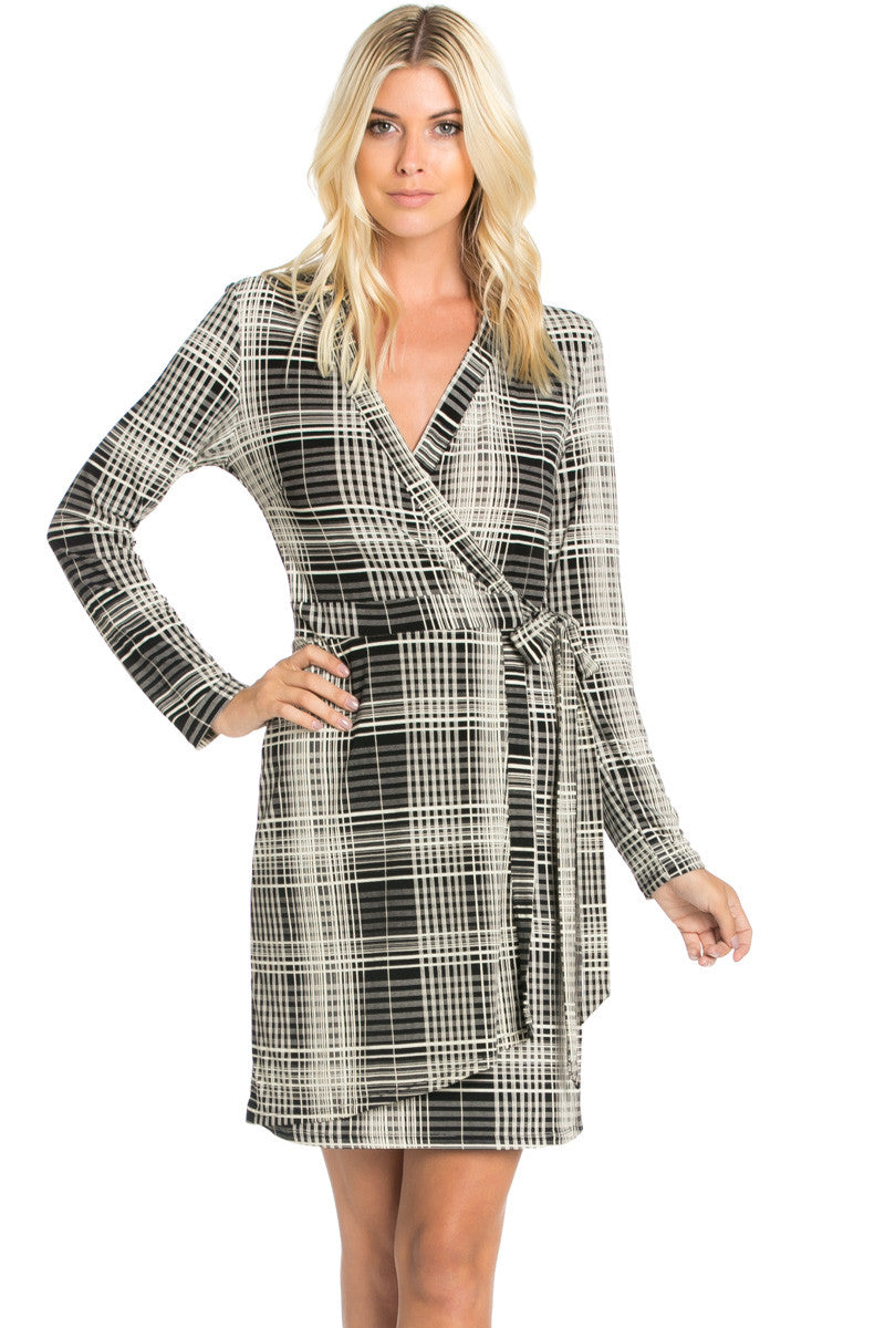 Black Plaid Long Sleeve Wrap Dress - Dresses - My Yuccie - 2