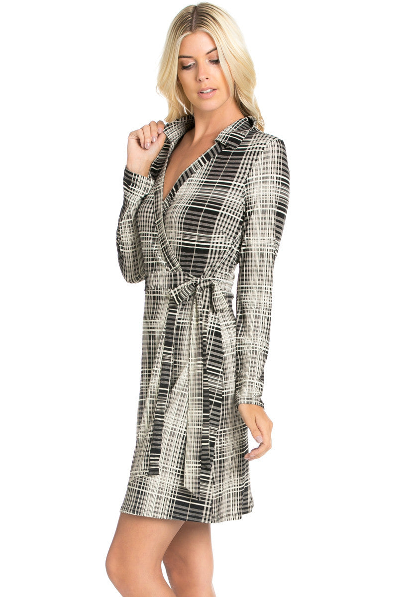Black Plaid Long Sleeve Wrap Dress - Dresses - My Yuccie - 3