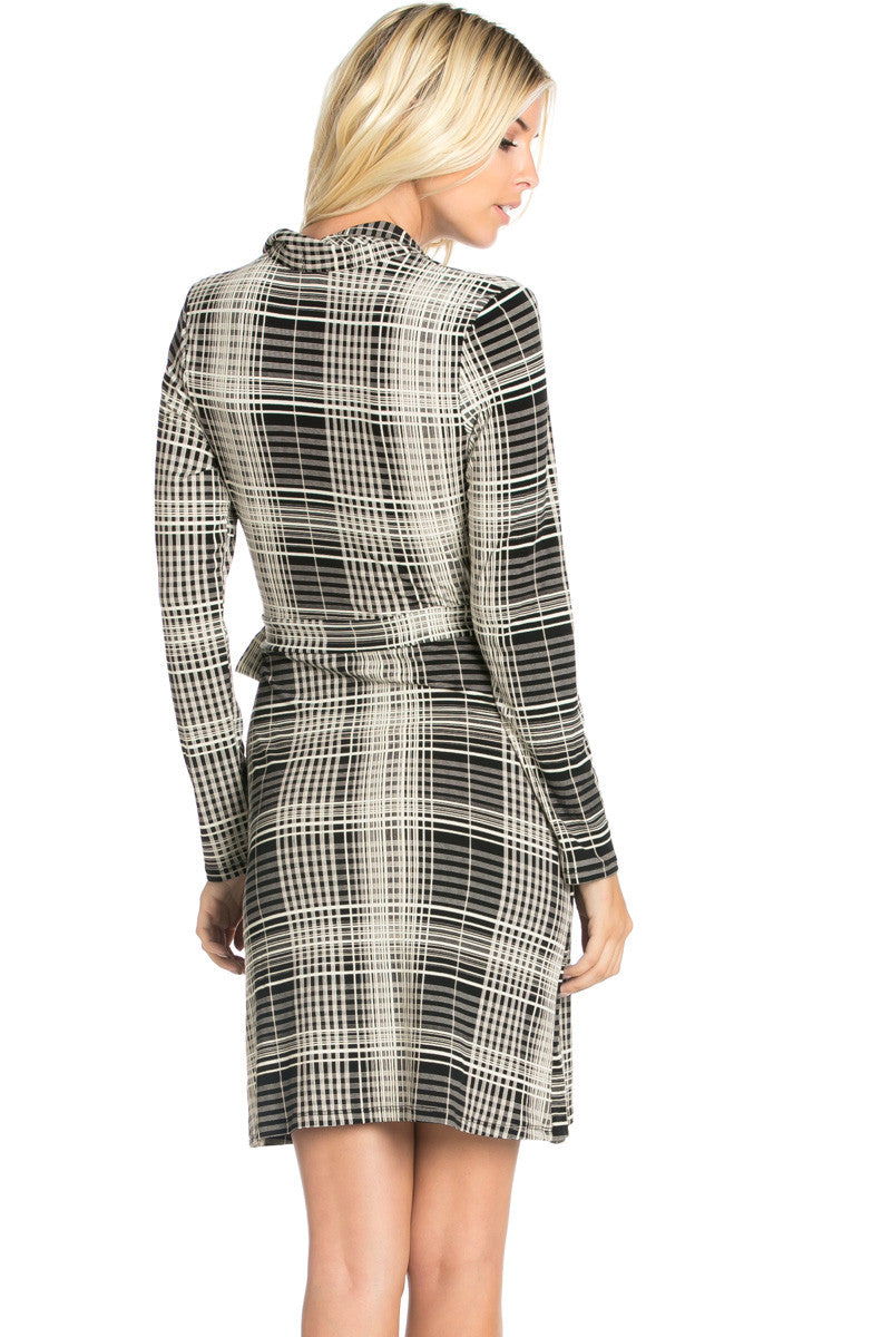 Black Plaid Long Sleeve Wrap Dress - Dresses - My Yuccie - 4