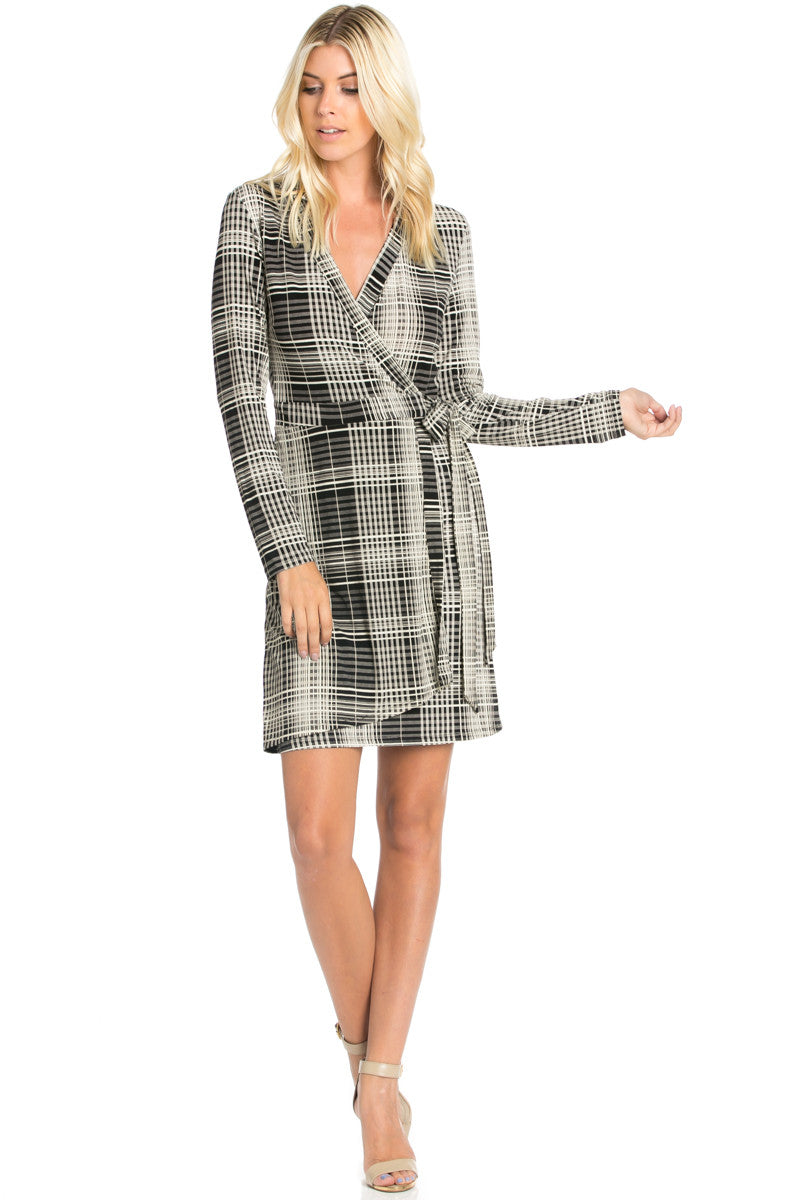 Black Plaid Long Sleeve Wrap Dress - Dresses - My Yuccie - 5