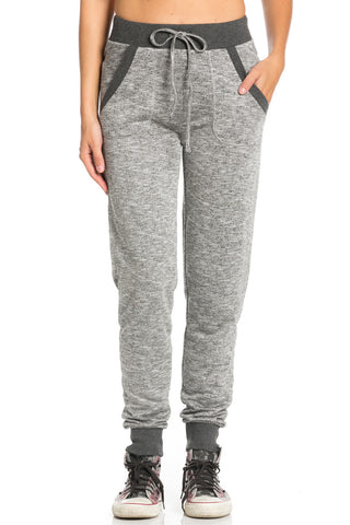 Dark Charcoal Banded Speckled Jogger Pants - Jogger Pants - My Yuccie - 1