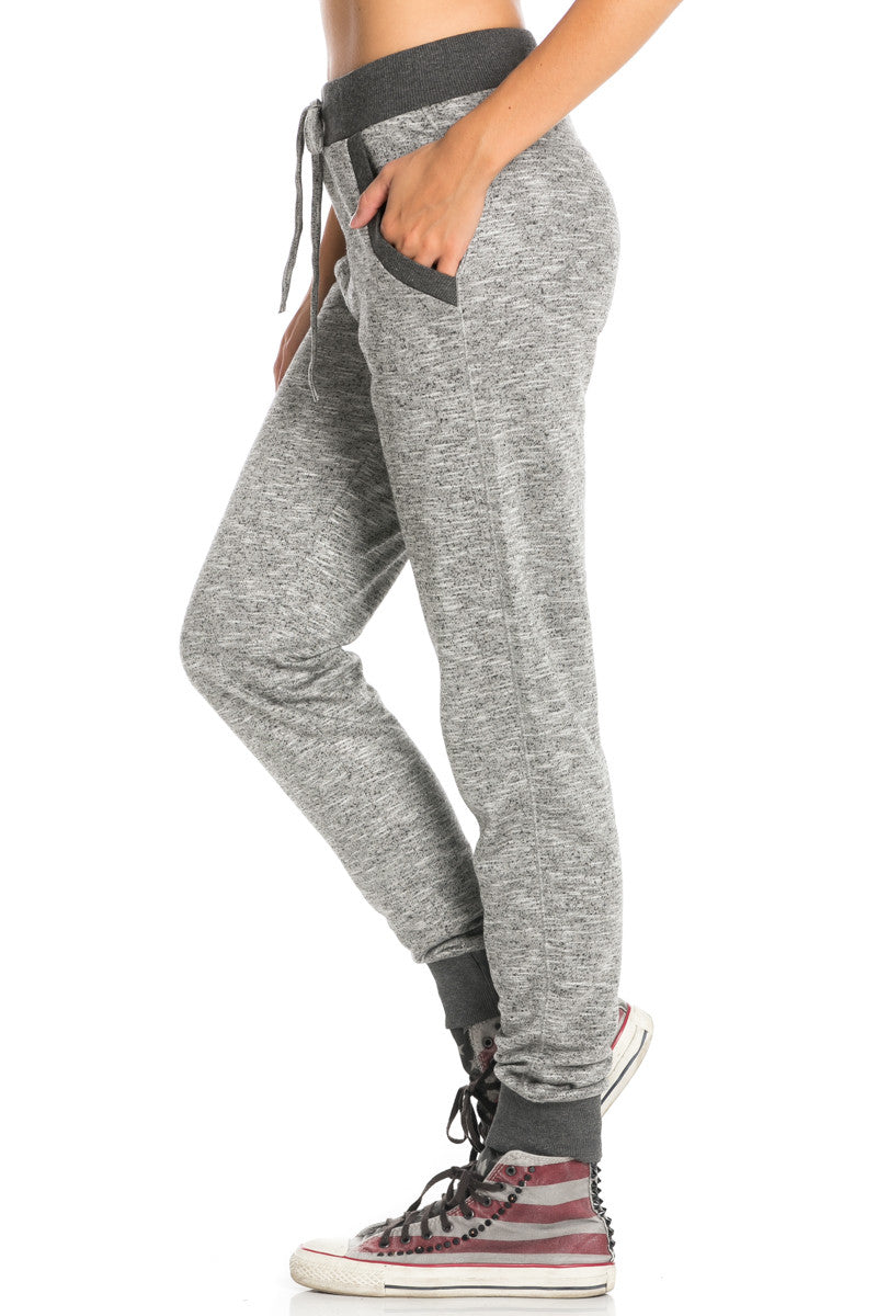 Dark Charcoal Banded Speckled Jogger Pants - Jogger Pants - My Yuccie - 3