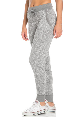 Heather Grey Banded Speckled Jogger Pants - Jogger Pants - My Yuccie - 1