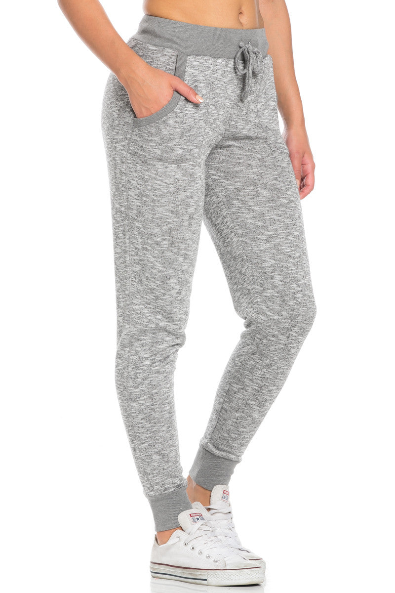 Heather Grey Banded Speckled Jogger Pants - Jogger Pants - My Yuccie - 5
