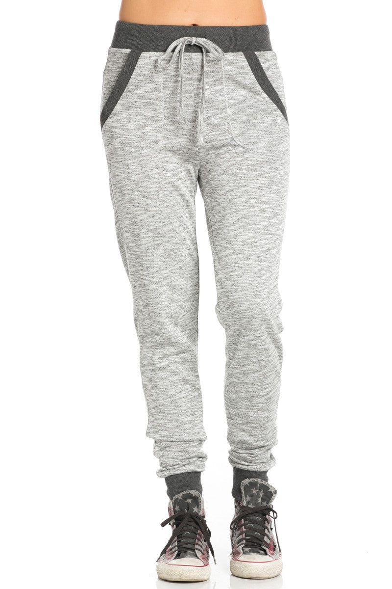 Charcoal Banded Grey Speckled Jogger Pants - Jogger Pants - My Yuccie - 1
