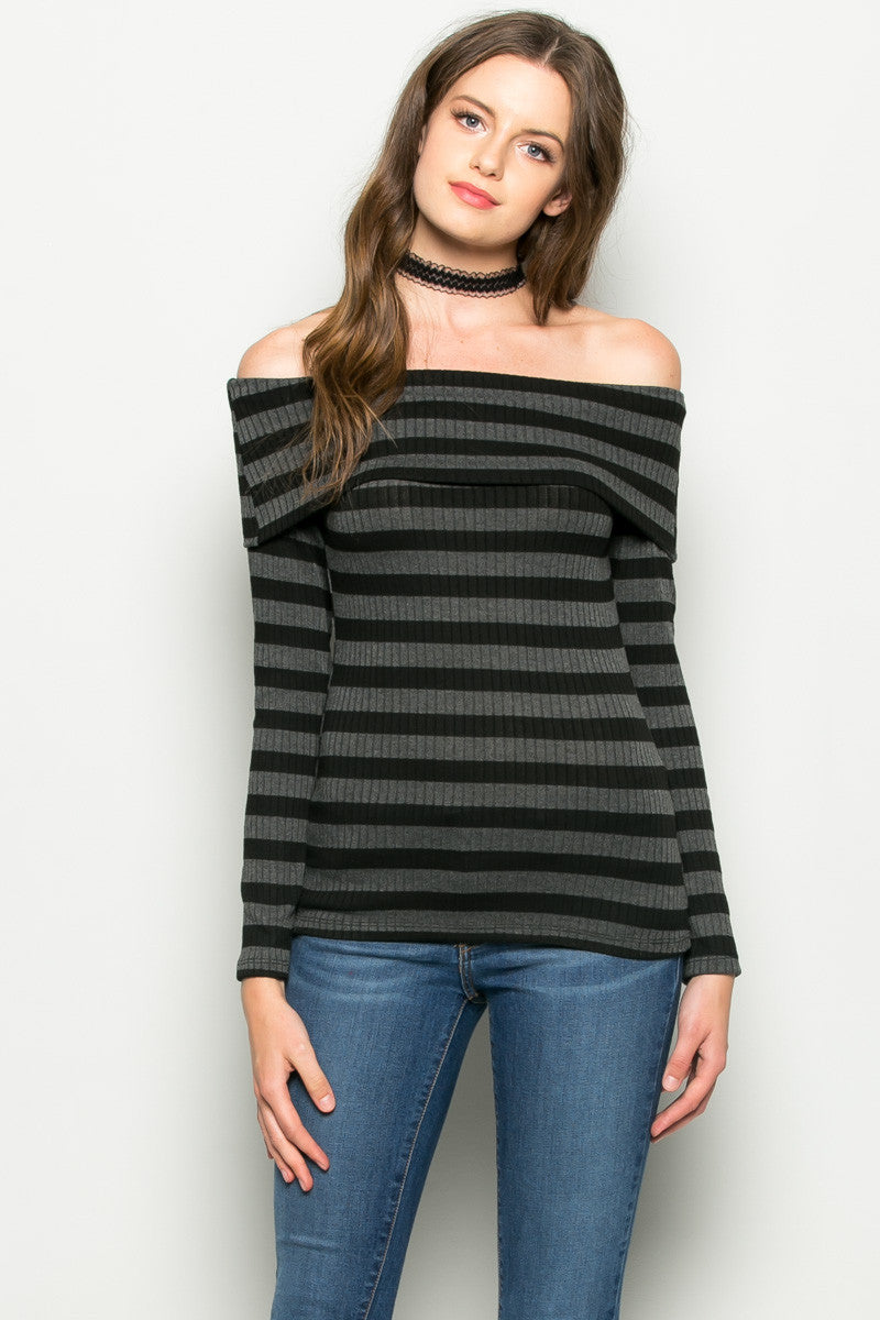Charcoal Striped Fold Over Off Shoulder Knit Top - Shirts - My Yuccie - 2