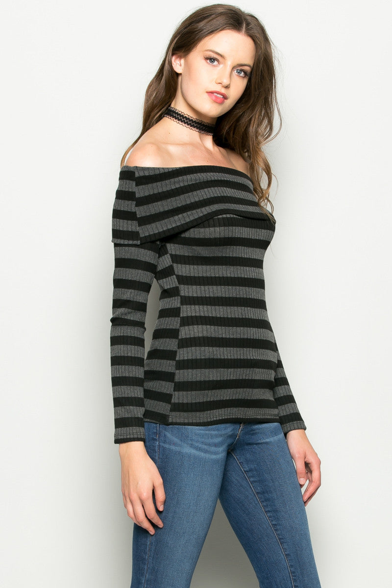 Grey Striped Fold Over Off Shoulder Knit Top - Shirts - My Yuccie - 5