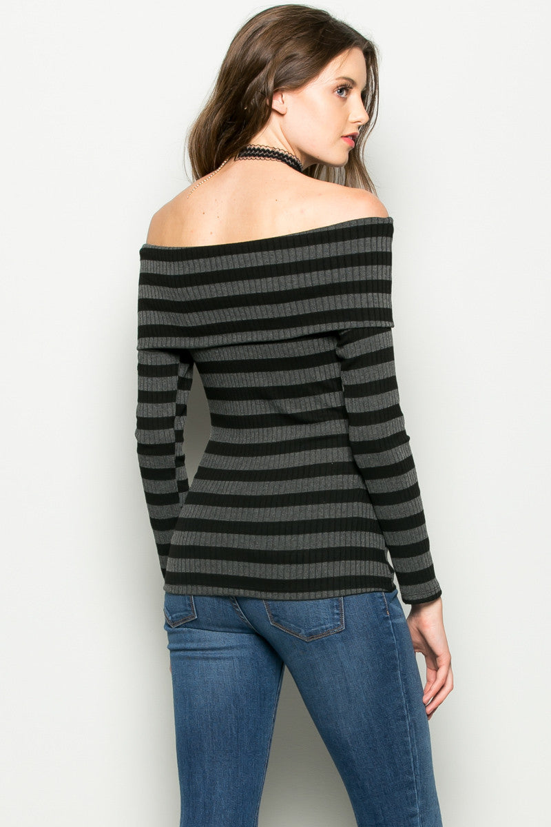 Charcoal Striped Fold Over Off Shoulder Knit Top - Shirts - My Yuccie - 3