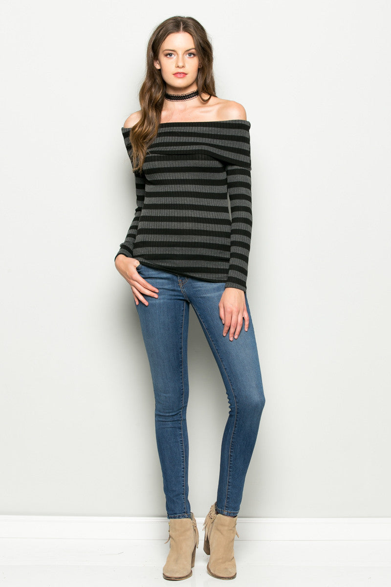 Charcoal Striped Fold Over Off Shoulder Knit Top - Shirts - My Yuccie - 4