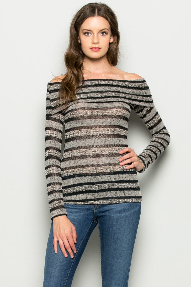 Grey Striped Fold Over Off Shoulder Knit Top - Shirts - My Yuccie - 2
