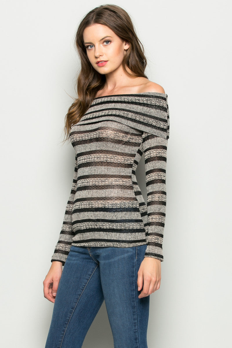 Grey Striped Fold Over Off Shoulder Knit Top - Shirts - My Yuccie - 1
