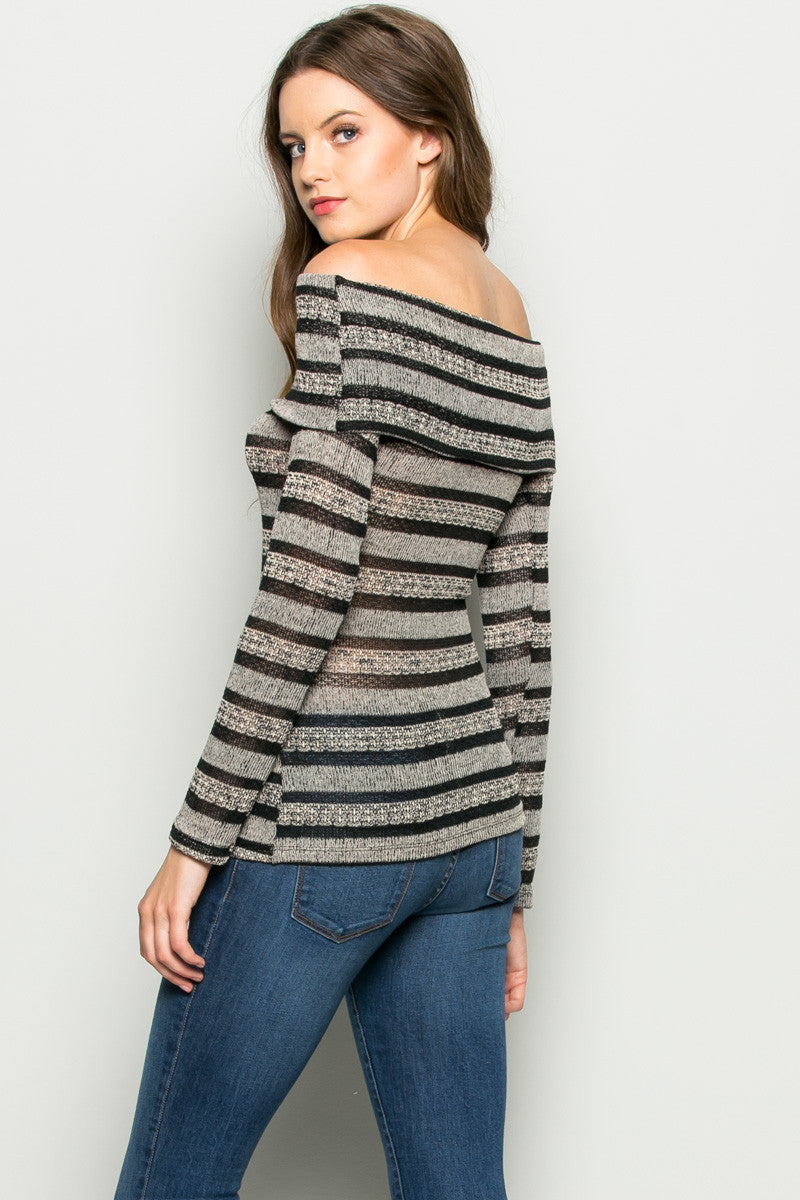 Grey Striped Fold Over Off Shoulder Knit Top - Shirts - My Yuccie - 3