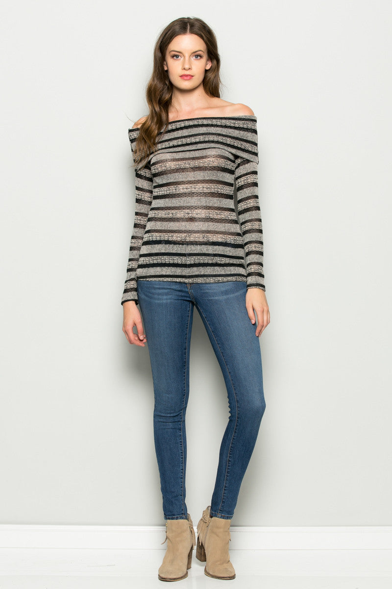 Grey Striped Fold Over Off Shoulder Knit Top - Shirts - My Yuccie - 4