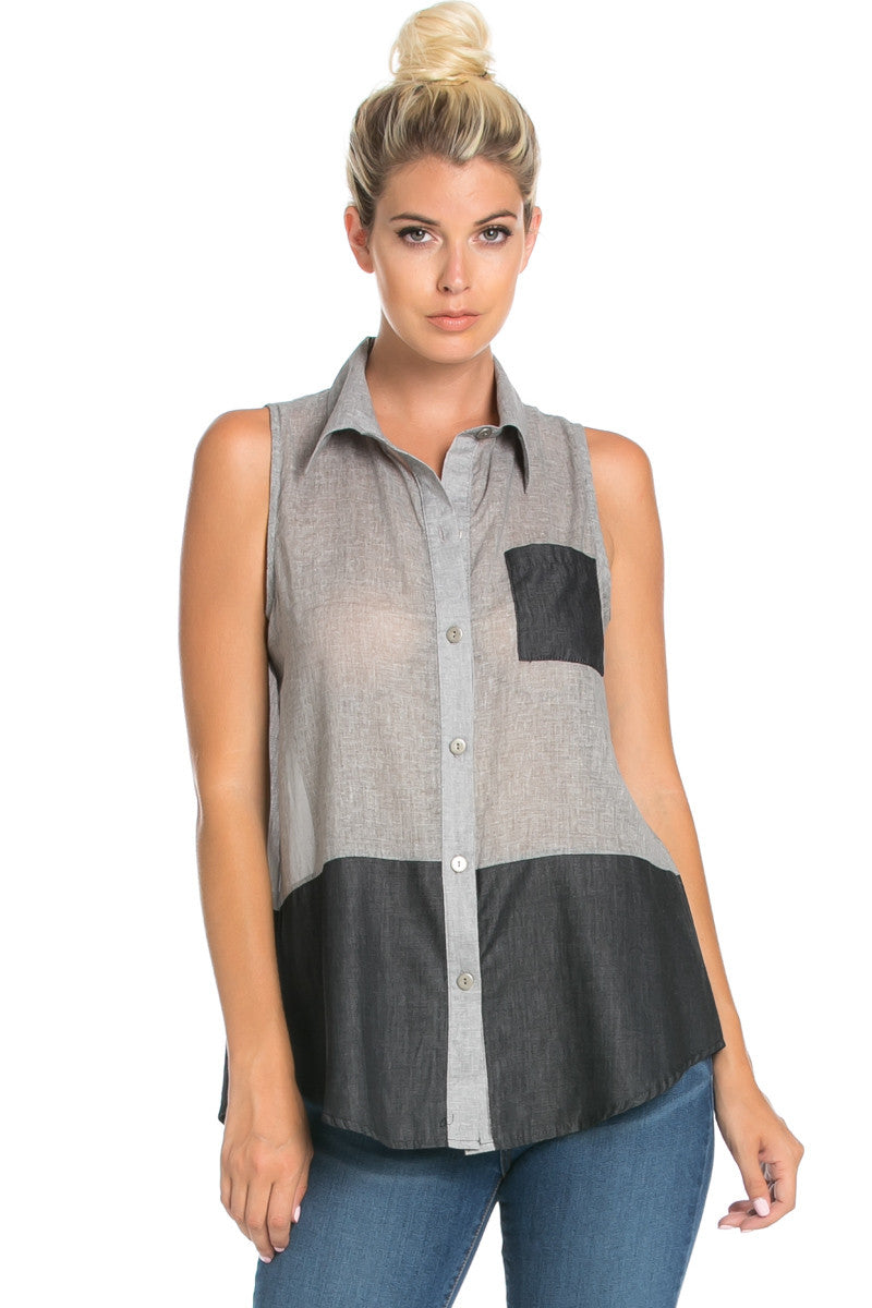 Button Me Up Denim Black Sleeveless Tank - Blouses - My Yuccie - 4
