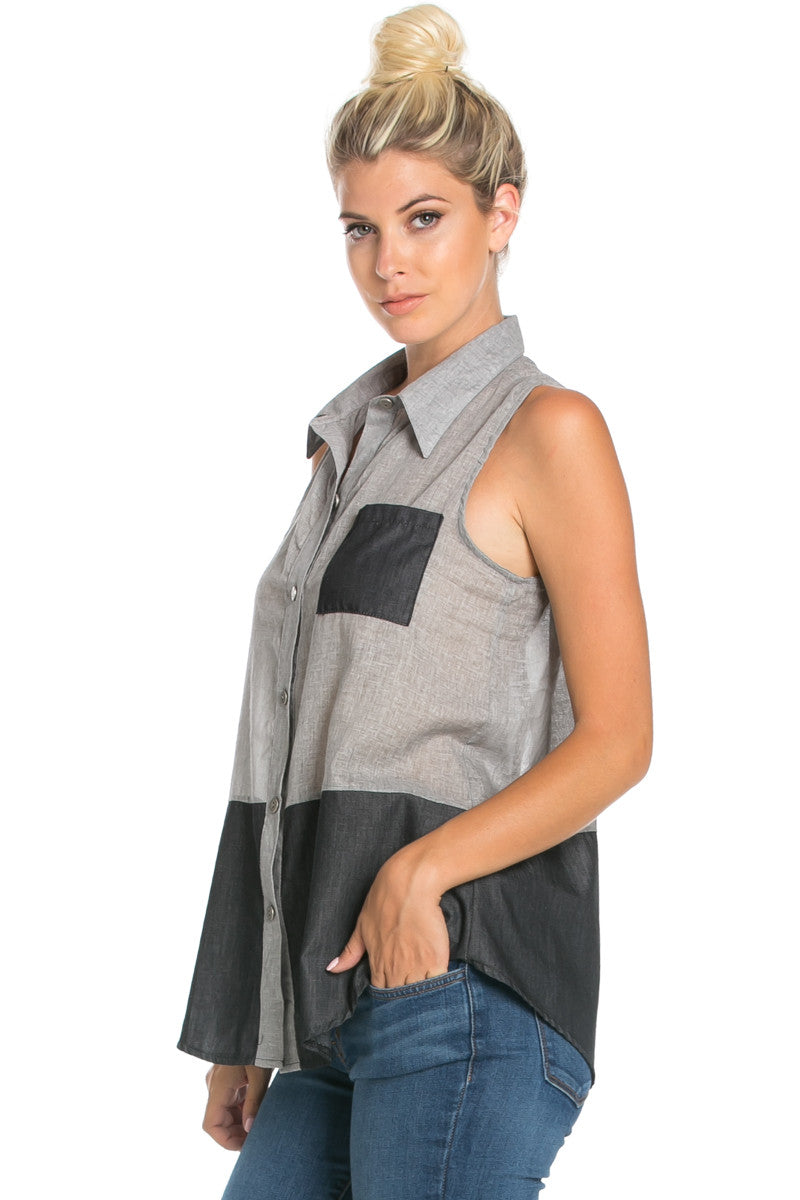 Button Me Up Denim Black Sleeveless Tank - Blouses - My Yuccie - 1