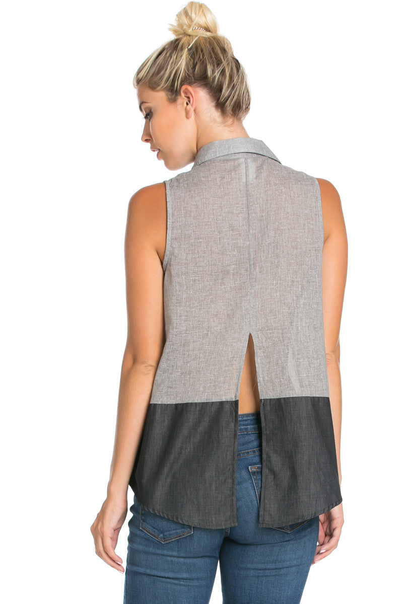 Button Me Up Denim Black Sleeveless Tank - Blouses - My Yuccie - 5