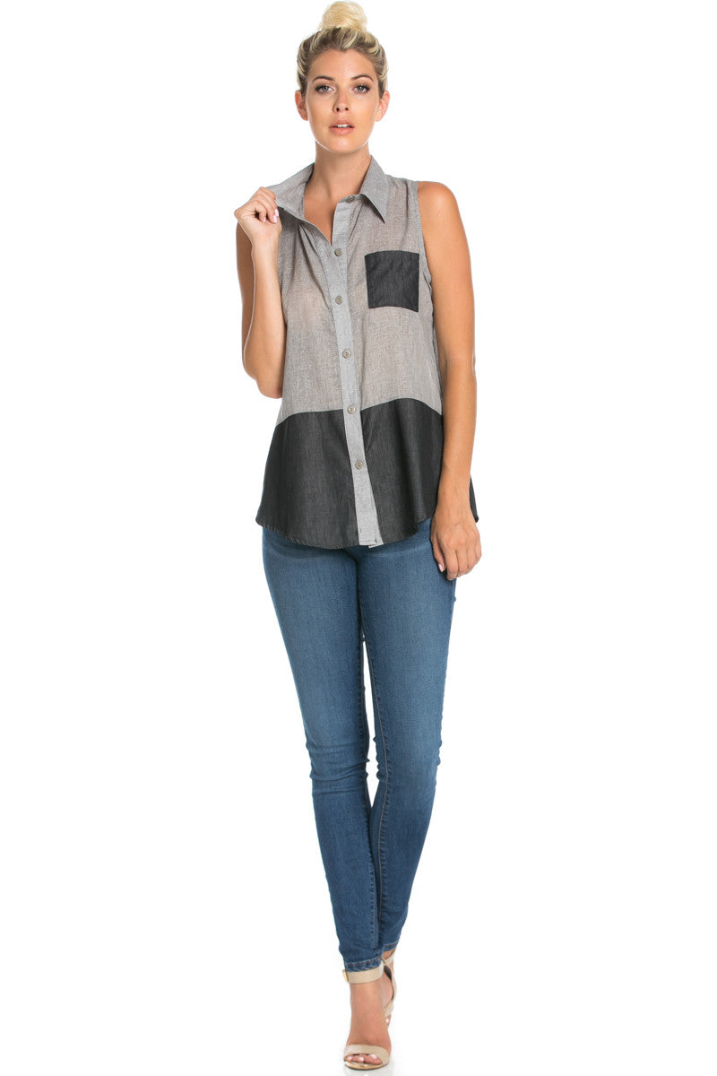 Button Me Up Denim Black Sleeveless Tank - Blouses - My Yuccie - 2