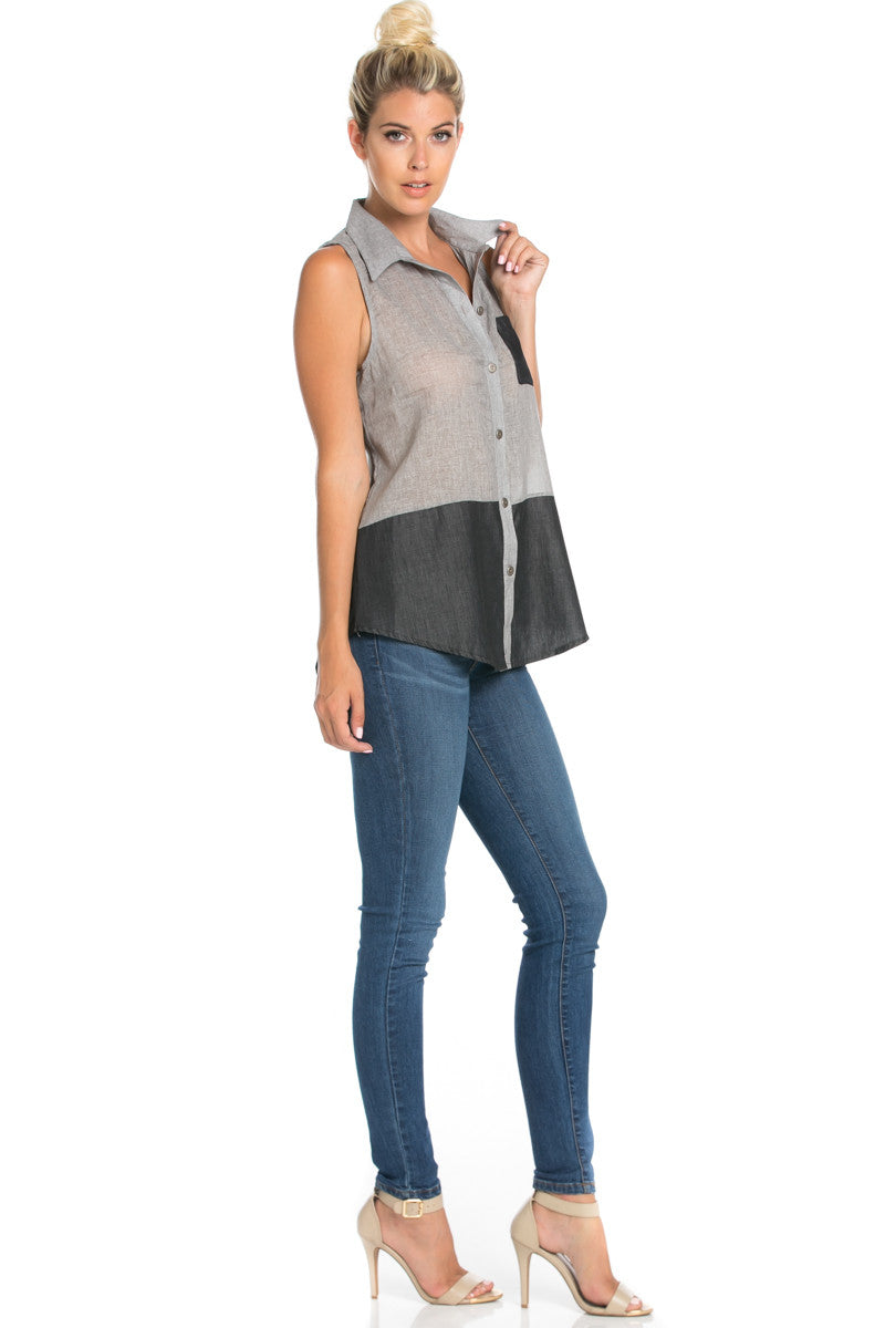Button Me Up Denim Black Sleeveless Tank - Blouses - My Yuccie - 3