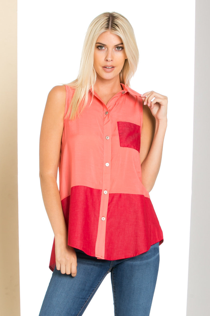 Button Me Up Red Coral Sleeveless Tank - Blouses - My Yuccie - 1