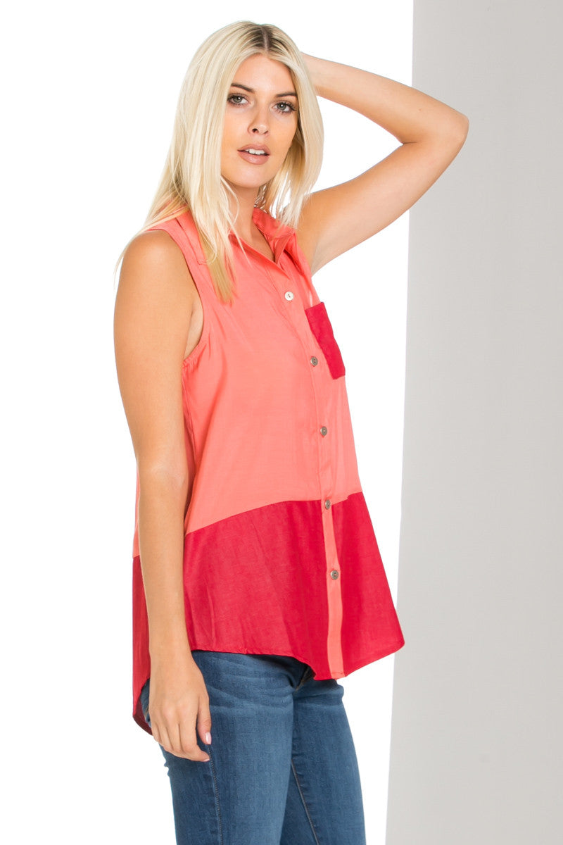 Button Me Up Red Coral Sleeveless Tank - Blouses - My Yuccie - 4