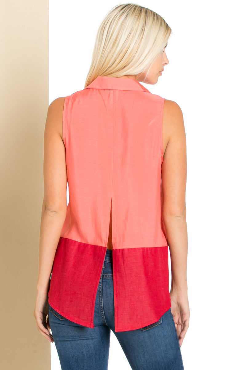 Button Me Up Red Coral Sleeveless Tank - Blouses - My Yuccie - 5