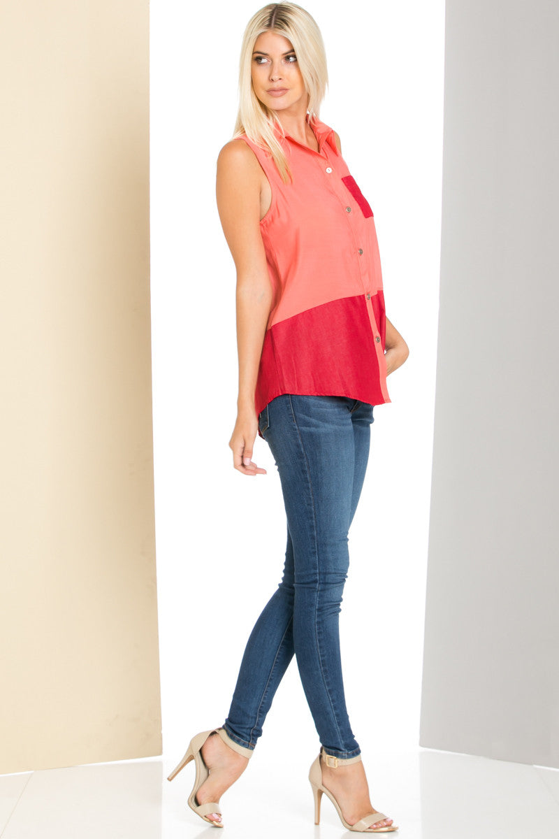 Button Me Up Red Coral Sleeveless Tank - Blouses - My Yuccie - 2