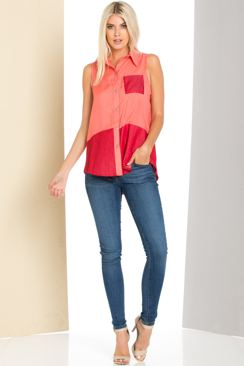 Button Me Up Red Coral Sleeveless Tank - Blouses - My Yuccie - 3