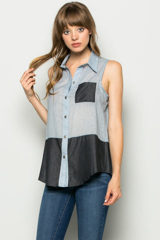 Button Me Up Denim Blue Sleeveless Tank