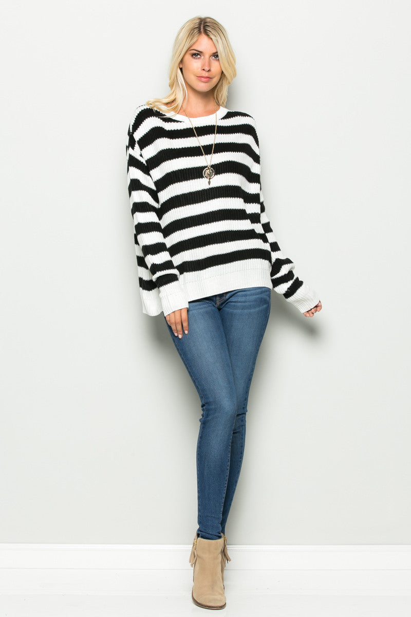 Black and White Striped Crossover Sweater - Sweaters - My Yuccie - 5