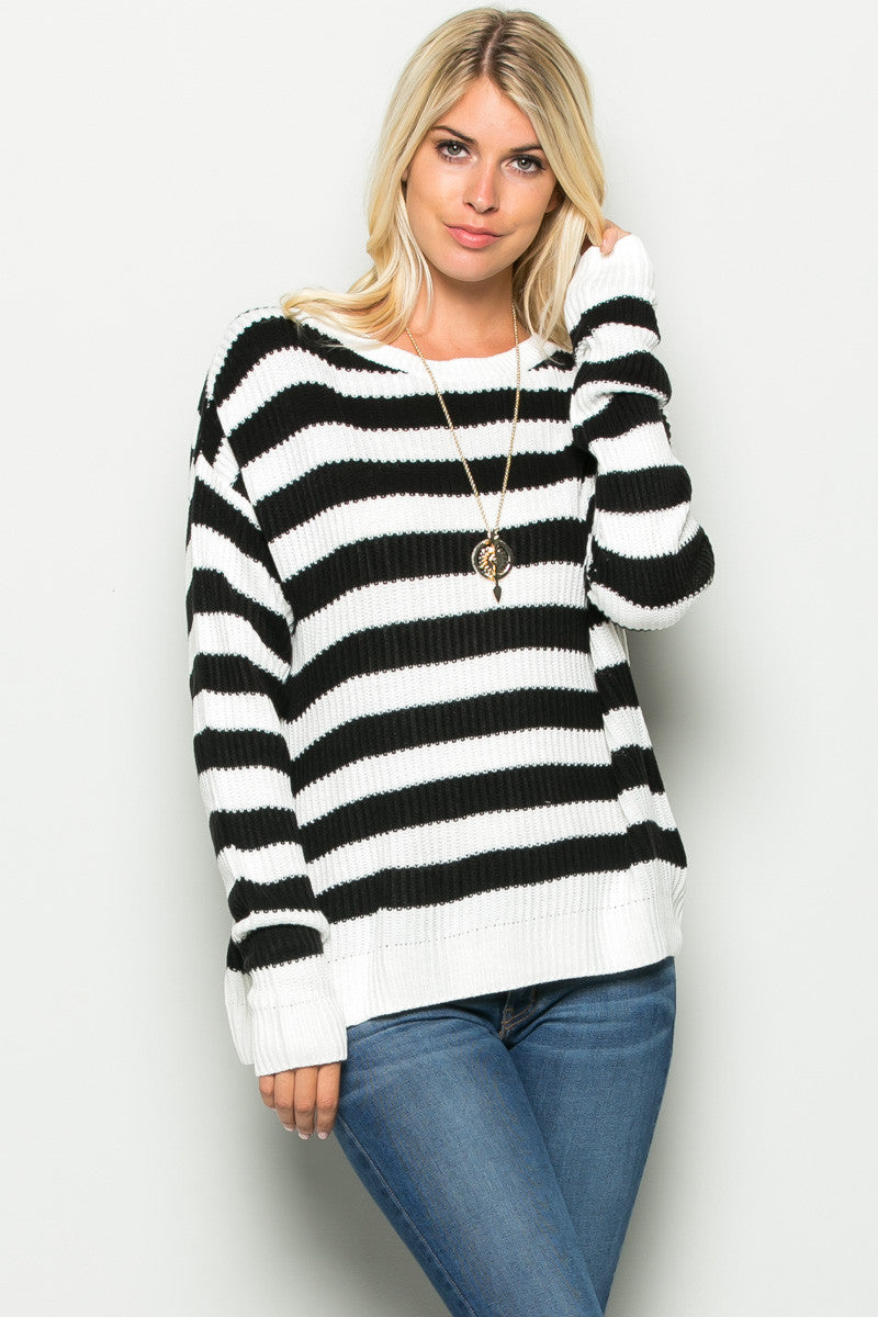 Black and White Striped Crossover Sweater - Sweaters - My Yuccie - 3
