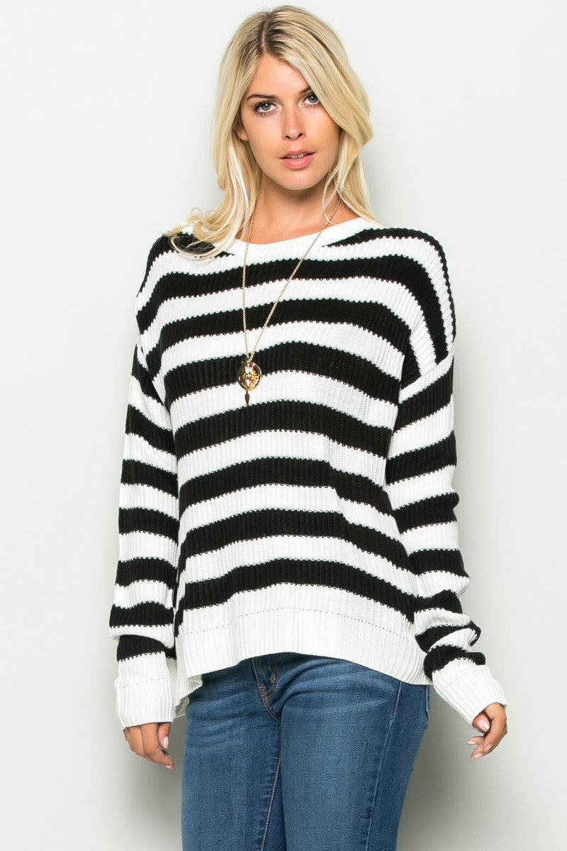 Black and White Striped Crossover Sweater - Sweaters - My Yuccie - 2
