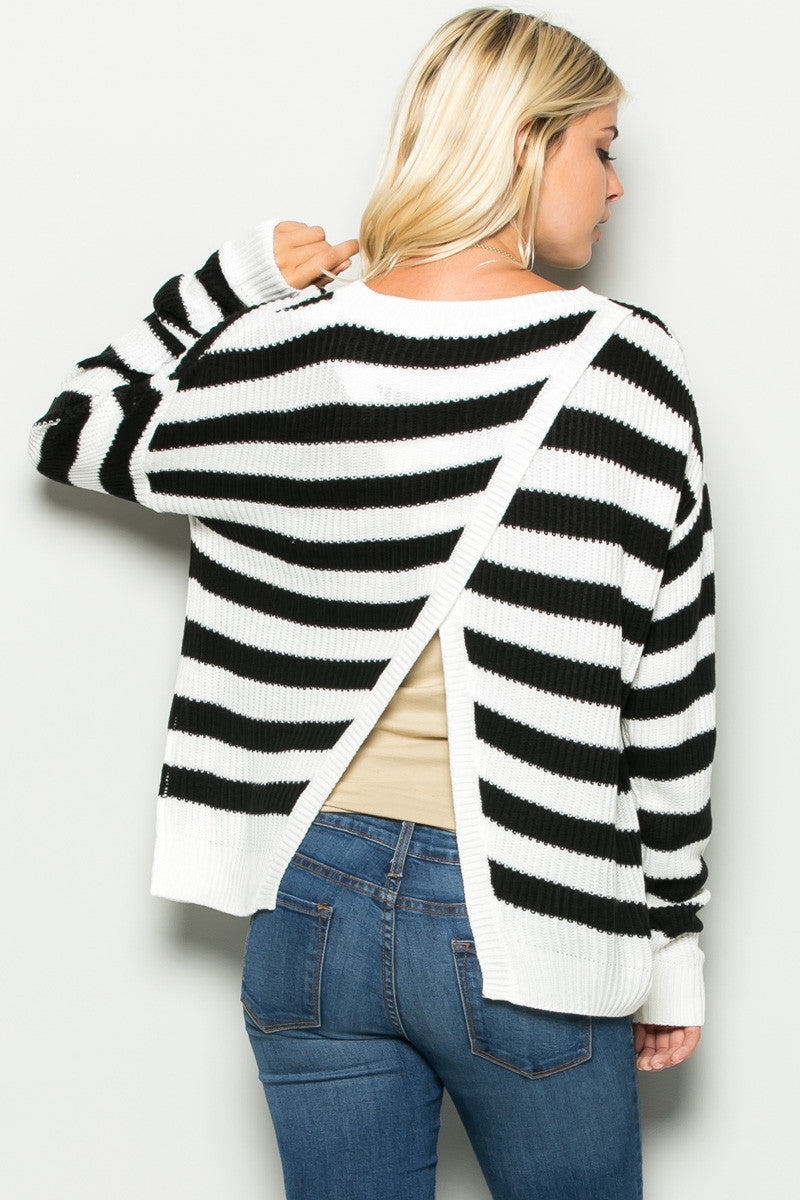 Black and White Striped Crossover Sweater - Sweaters - My Yuccie - 4