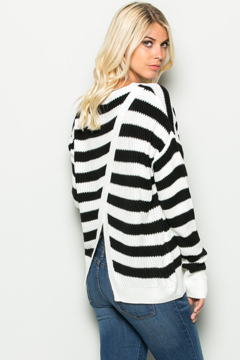 Black and White Striped Crossover Sweater - Sweaters - My Yuccie - 1