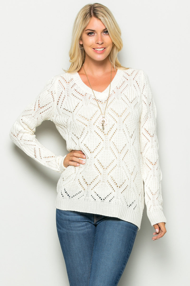 Ivory Open Knit V-neck Sweater - Sweaters - My Yuccie - 2
