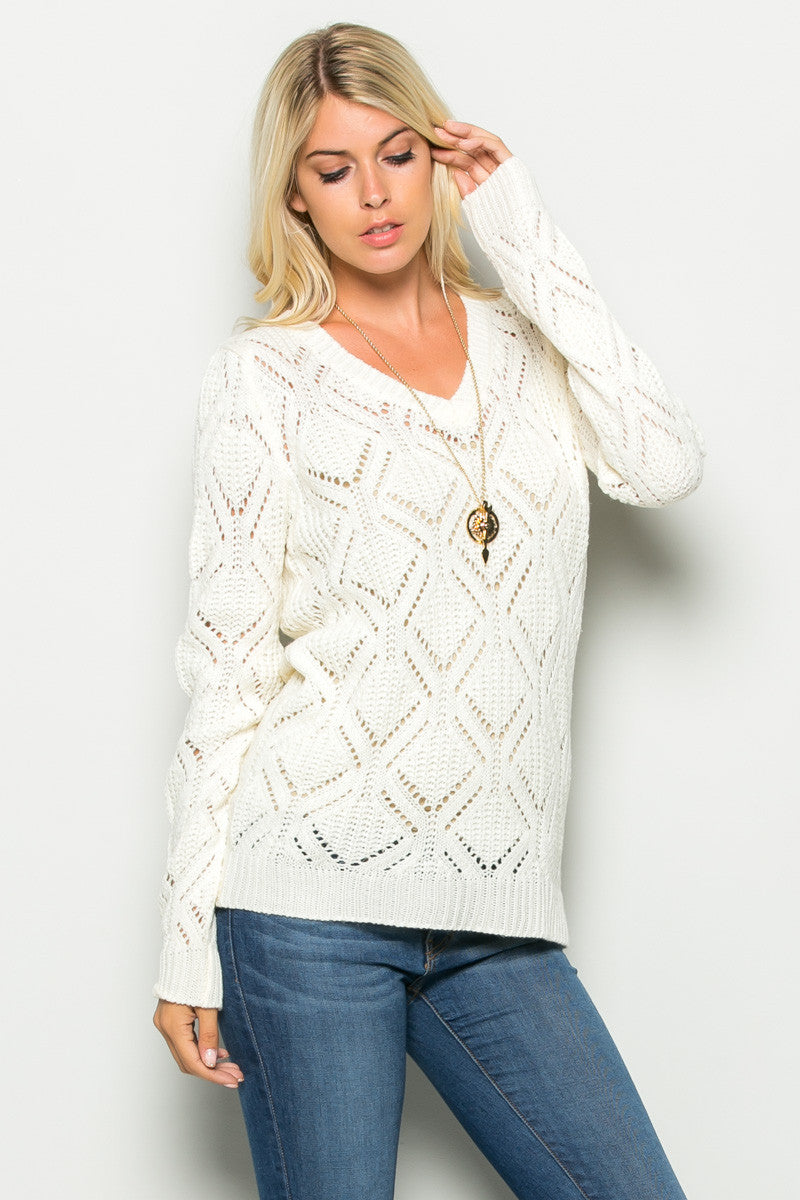 Ivory Open Knit V-neck Sweater - Sweaters - My Yuccie - 1
