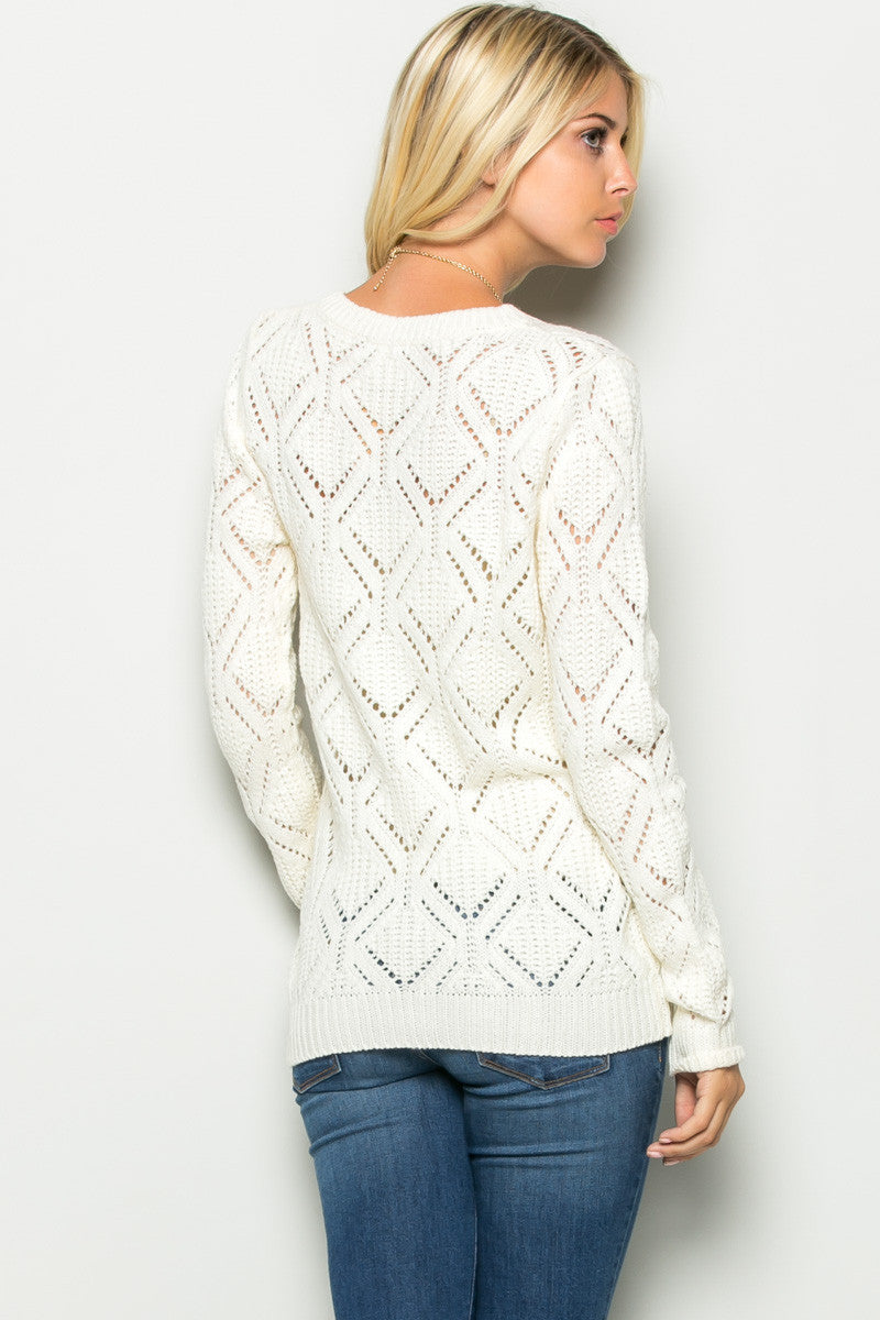 Ivory Open Knit V-neck Sweater - Sweaters - My Yuccie - 3