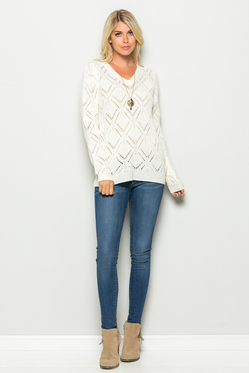 Ivory Open Knit V-neck Sweater