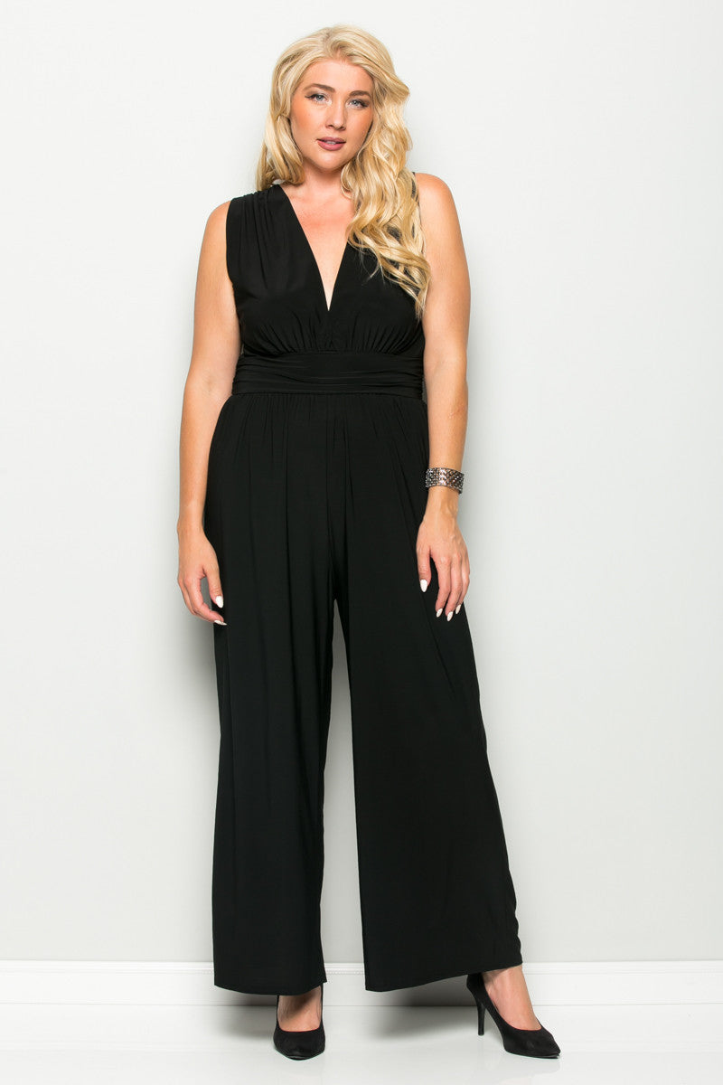 Black Plus Size Sleeveless Wide Leg Jumpsuit - Jumpsuit - My Yuccie - 2