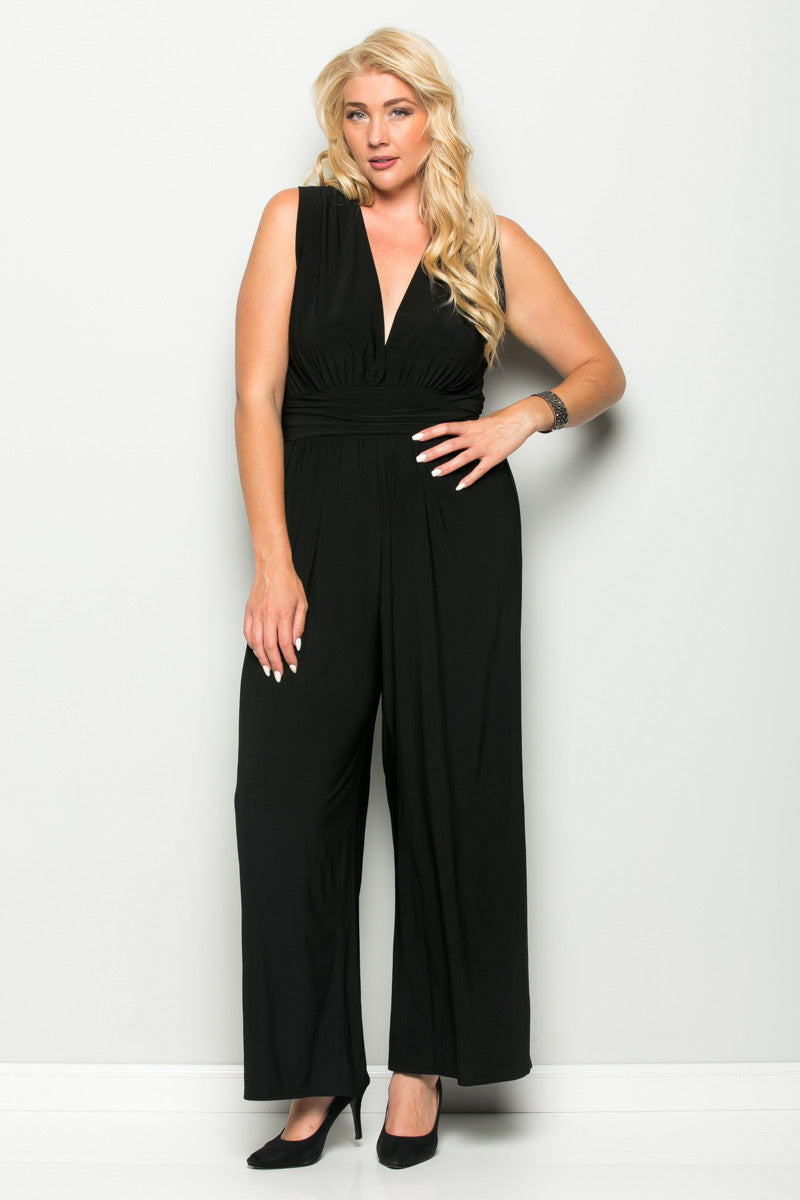 Black Plus Size Sleeveless Wide Leg Jumpsuit - Jumpsuit - My Yuccie - 1