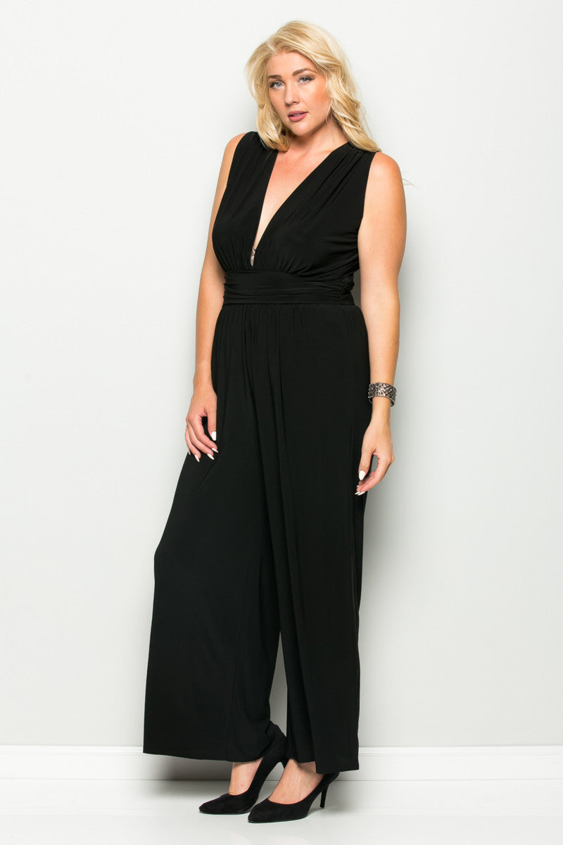 Black Plus Size Sleeveless Wide Leg Jumpsuit - Jumpsuit - My Yuccie - 3