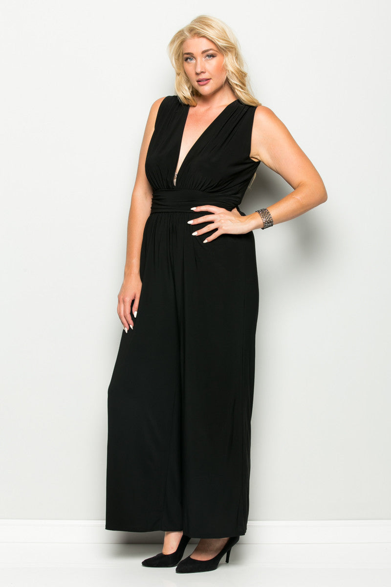 Black Plus Size Sleeveless Wide Leg Jumpsuit - Jumpsuit - My Yuccie - 5