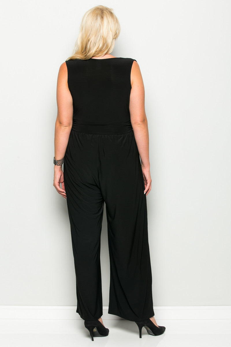 Black Plus Size Sleeveless Wide Leg Jumpsuit - Jumpsuit - My Yuccie - 6