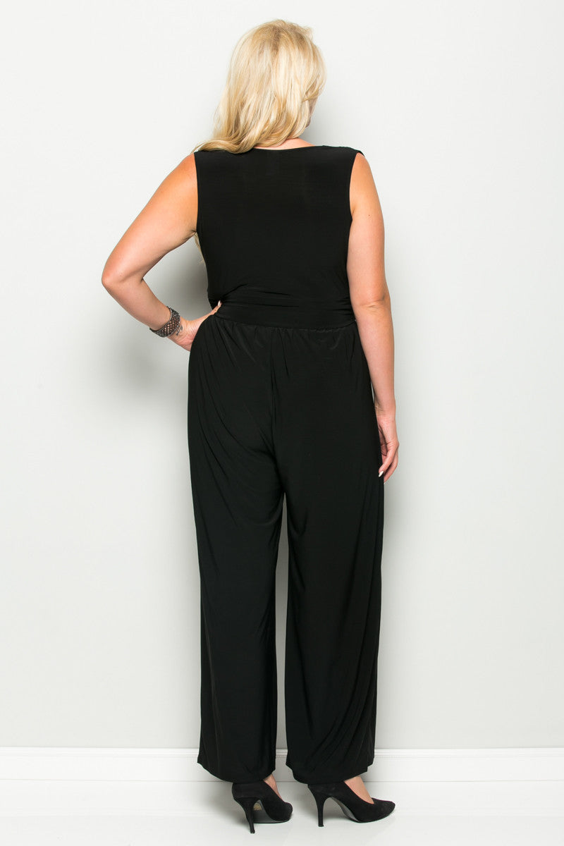 Black Plus Size Sleeveless Wide Leg Jumpsuit - Jumpsuit - My Yuccie - 4