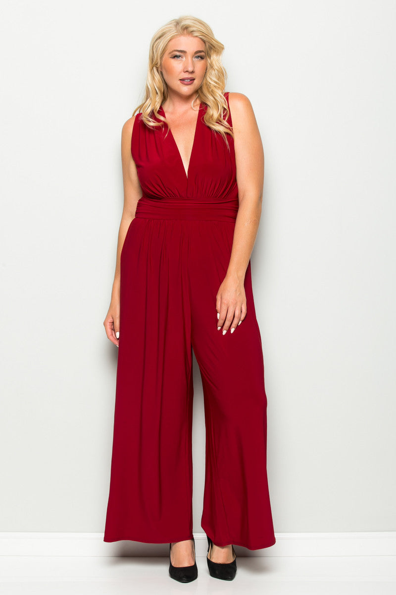 Red Plus Size Sleeveless Wide Leg Jumpsuit - Jumpsuit - My Yuccie - 3