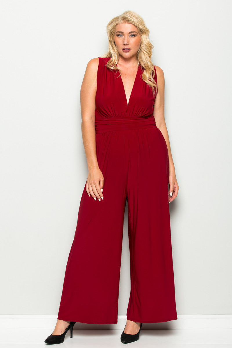 Red Plus Size Sleeveless Wide Leg Jumpsuit - Jumpsuit - My Yuccie - 4