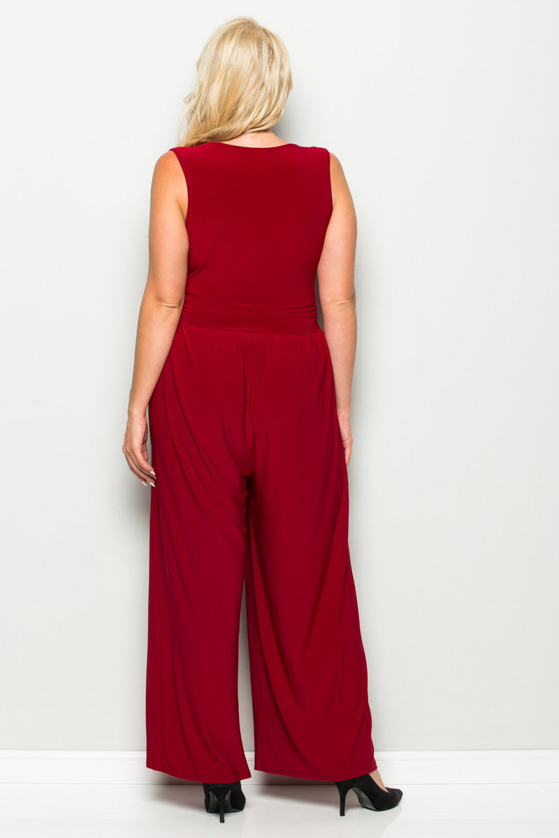 Red Plus Size Sleeveless Wide Leg Jumpsuit - Jumpsuit - My Yuccie - 5