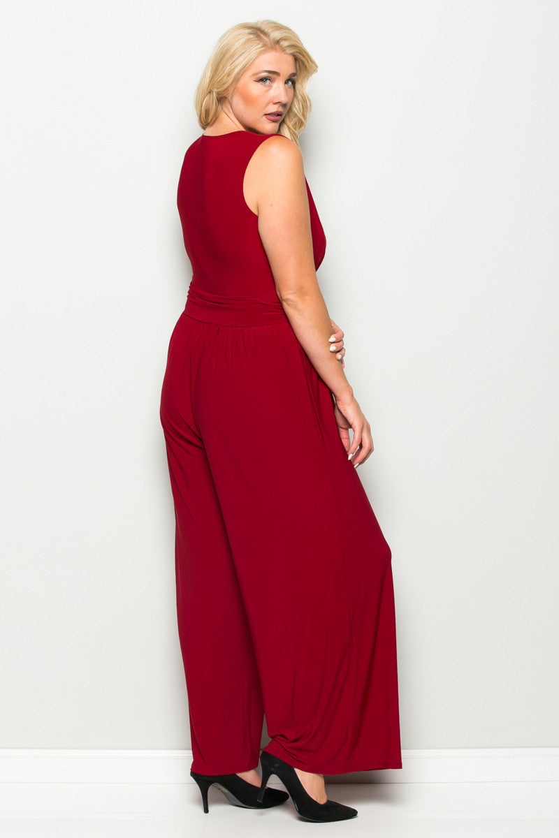 Red Plus Size Sleeveless Wide Leg Jumpsuit - Jumpsuit - My Yuccie - 6