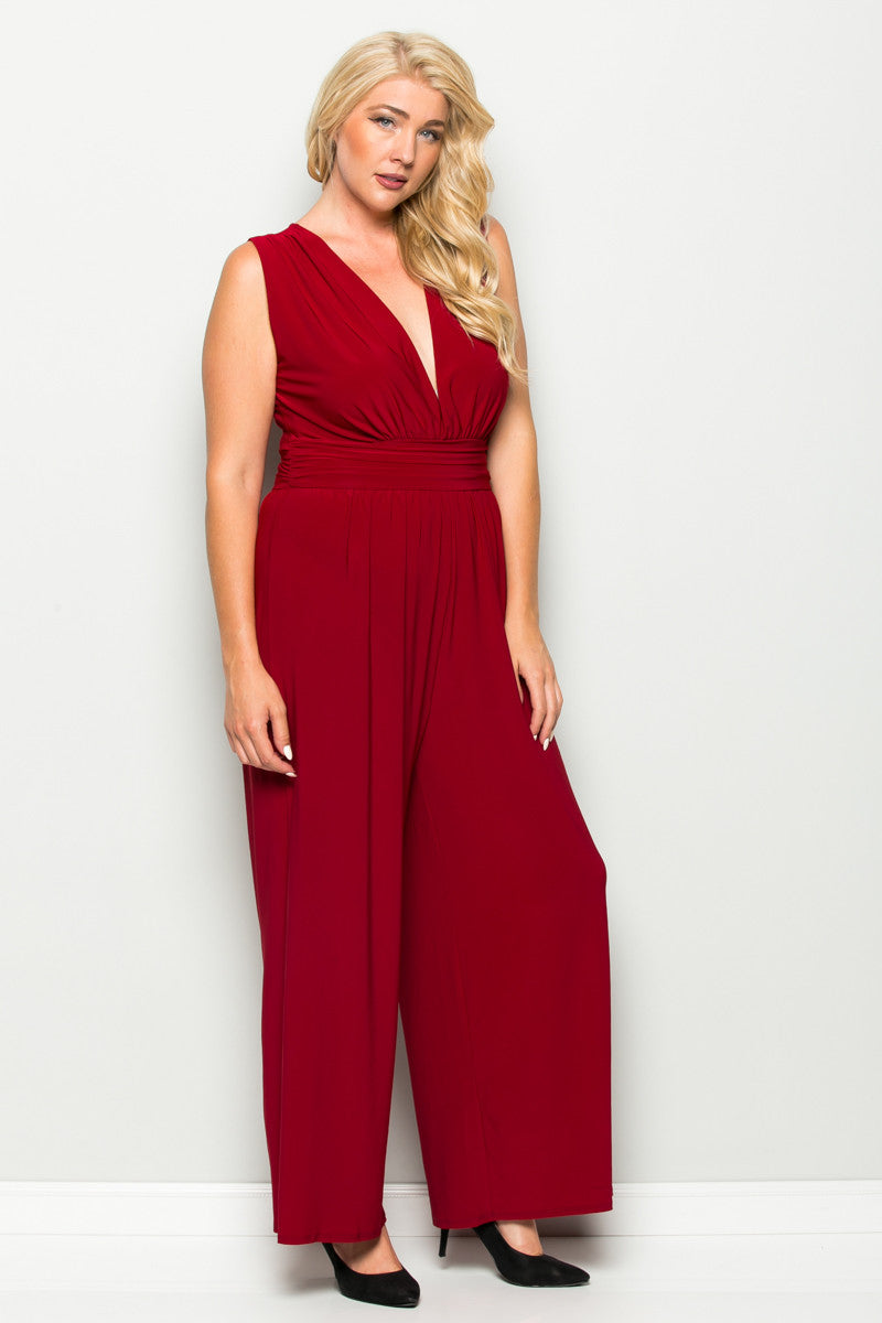 Red Plus Size Sleeveless Wide Leg Jumpsuit - Jumpsuit - My Yuccie - 1